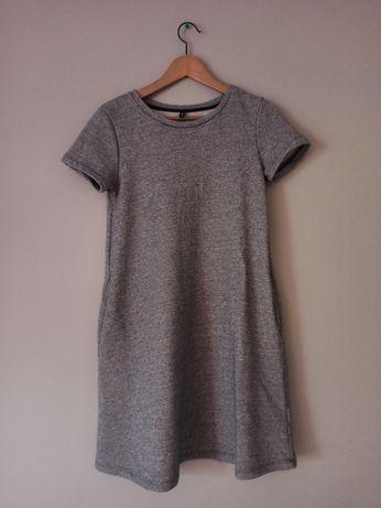Medicine sukienka dresowa z kieszeniami, szary melanż