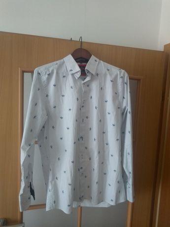 Koszula męska KeMen elegancka L slim fit Super Zara piękny wzór 41 42