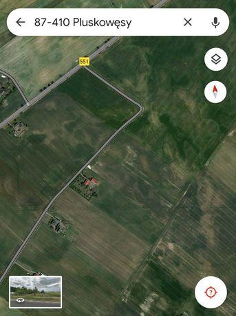 Ziemia rolna w Pluskowęsach gmina Chełmża 2ha