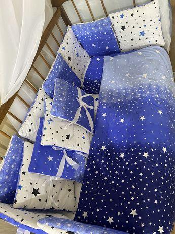 Набор постельного белья в детскую кровать,бортики,подушка,одеяло 9в1