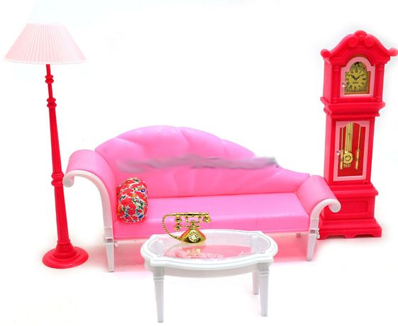 Salon dla lalki Barbie zegar lampa złoty telefon