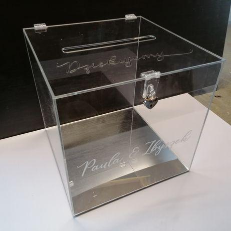 Pudełko akrylowe ślubne na kartki koperty skarbona skrzynka przeźroczy