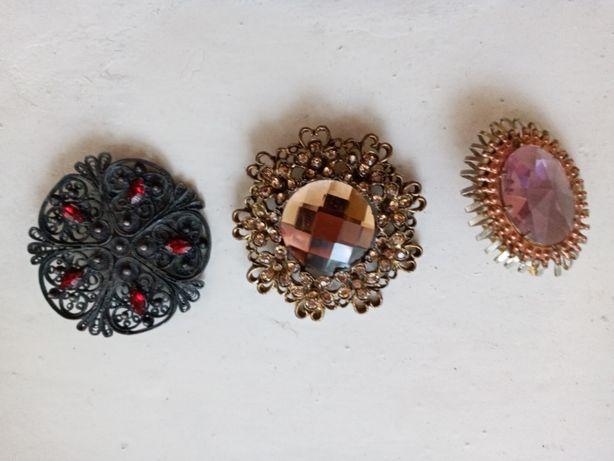 Подарок женщине Броши винтажные с яркими камешками