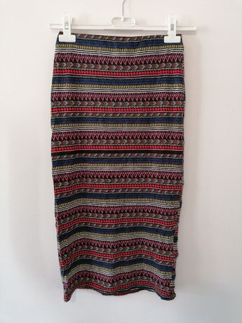 Spódnica tuba midi dopasowana obcisła we wzory boho aztecka sexowna