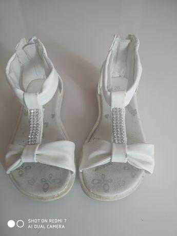 Białe sandały dziecięce NelliBlu dla dziewczynki rozmiar 26