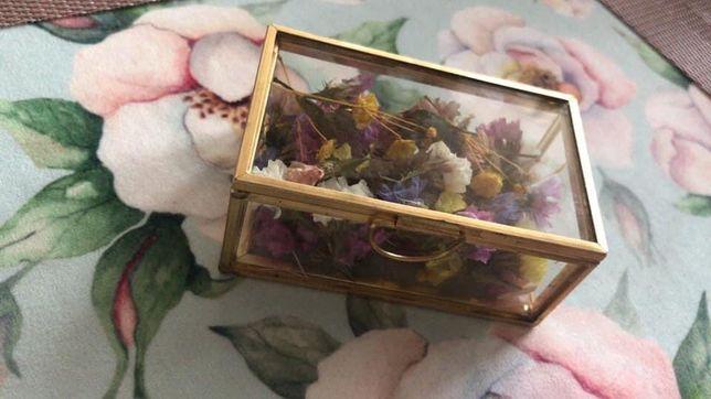 Skrzynka na koperty wesele złota szklana