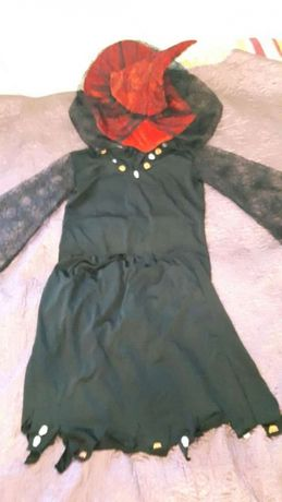 Strój karnawałowy/Halloween CZAROWNICA kostium przebranie kapelusz