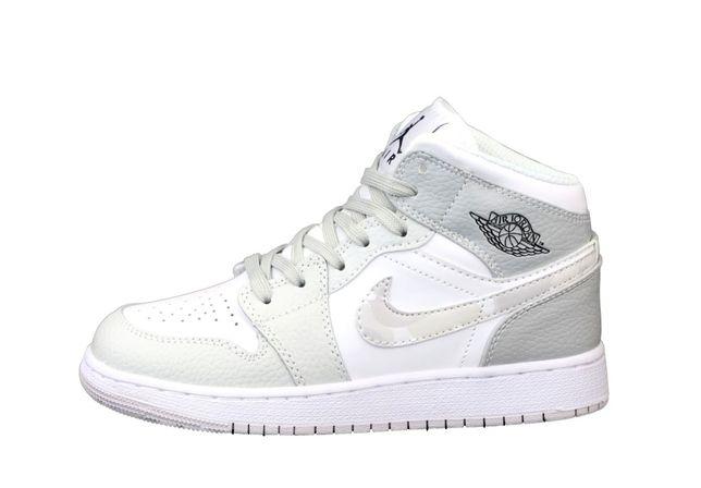 12456 Nike Air Jordan 1 Retro Белые с серым кроссовки женские кожаные