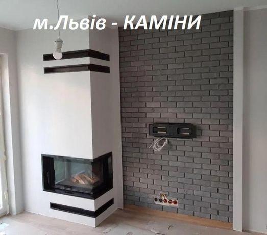 монтаж установка КАМІННА ТОПКА Портал для каміна Львів Камін