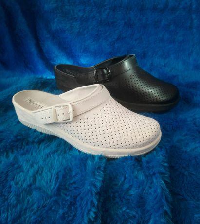 Кожаная медицинская поварская обувь сабо медичне взуття тапочки