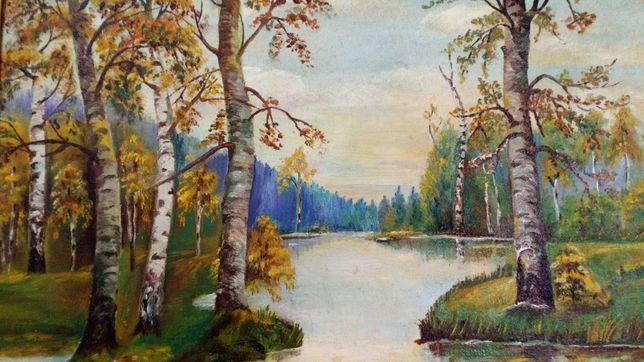 Obraz olejny krajobraz jezioro las pejzaż olej