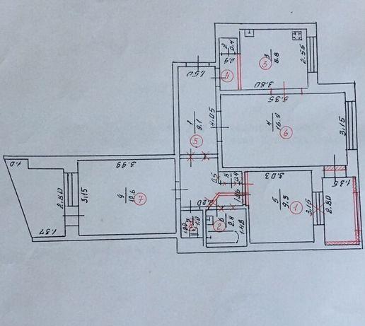 трехкомнатная квартира 1-й м-н