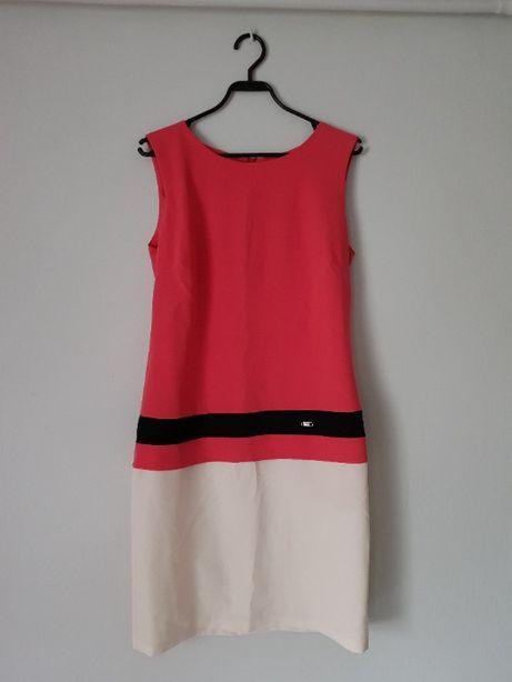 Prosta sukienka biało-różowa