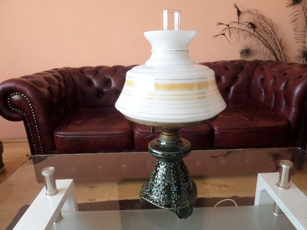 piękna stylowa lampa idealna do biura porcelanowy abażur stan IDEALNY