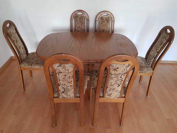 OKAZJA !!! Stół dębowy, rozkładany + 6 krzeseł bardzo dobry stan