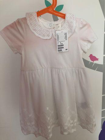 NOWA Biała sukienka H&M dla dziewczynki rozmiar 86/92