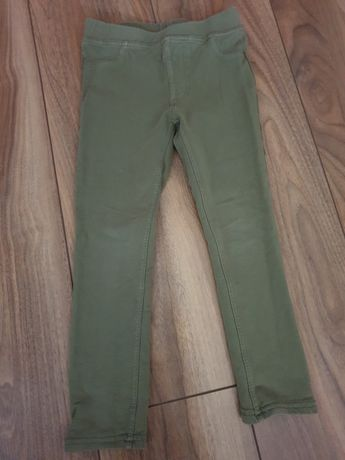 Legginsy grubsze h&m 116 khaki zielone