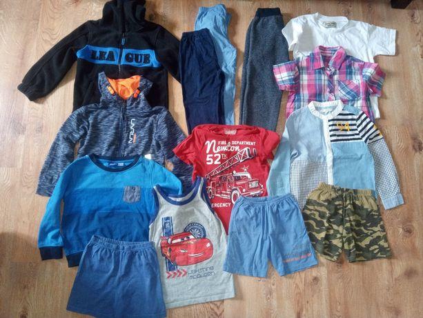 Zestaw ubrań r.116 ,bluzy, spodnie, koszulki, spodenki