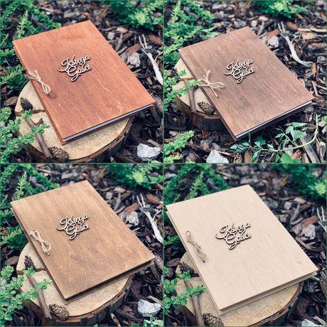 Księga gości rustykalna drewniana pionowa 4 kolory