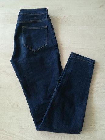 Spodnie jeans granat 36,38 hm skinny wysoki stan