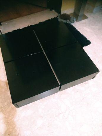 Mesa de sala em madeira preta e pés metal cinza