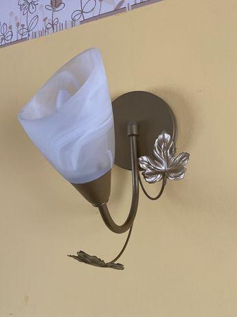 Zestaw 2x kinkiet, lampa sufitowa/żyrandol, lampa stojąca, złote liści