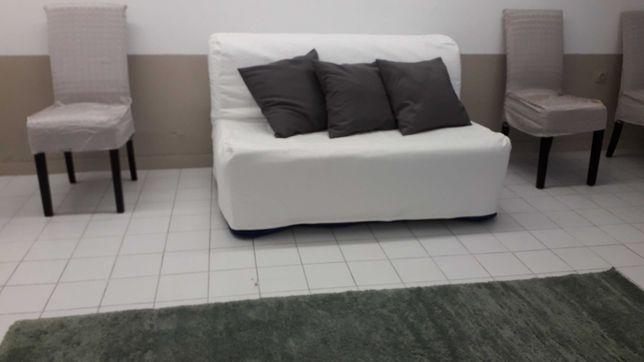 Sofá Cama 2 Lugares (cama casal) LYCKSELE IKEA com Capa Branca Lavável