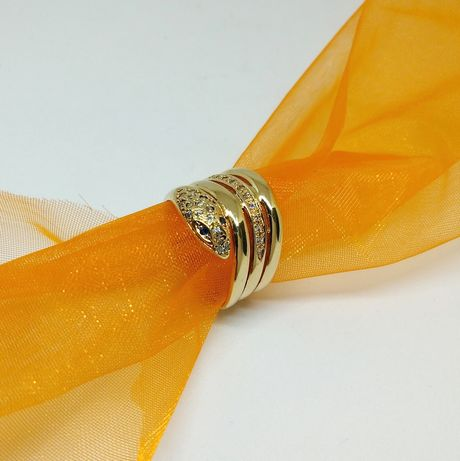Złoty pierścionek- żmija, złoto 585