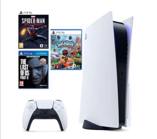 Sony PlayStation 5 + 3 gry, NOWE