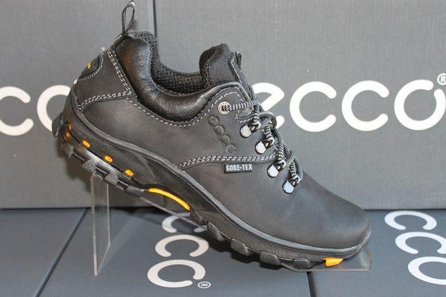 Кожаные черные туфли - кроссовки ECCO .(код:18-12чер.)