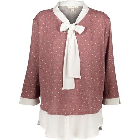 Bluzka sweter w kropki groszki rozowa z wiazanym dekoltem faith 48