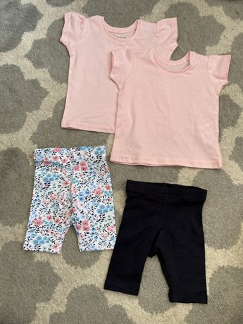 Zestaw komplet 2 pack t-shirt bluzka legginsy kwiaty 62 primark