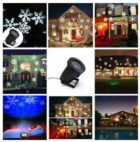 Projektor świąteczny zewnętrzny, białe śnieżynki