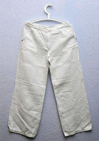 TATUUM- BIAŁE- spodnie BOHO - lniane, szerokie - 40