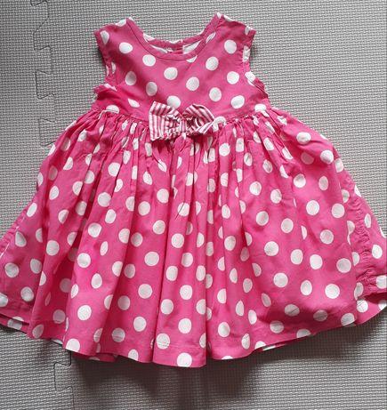 Sukienka 62/68 różowa w grochy