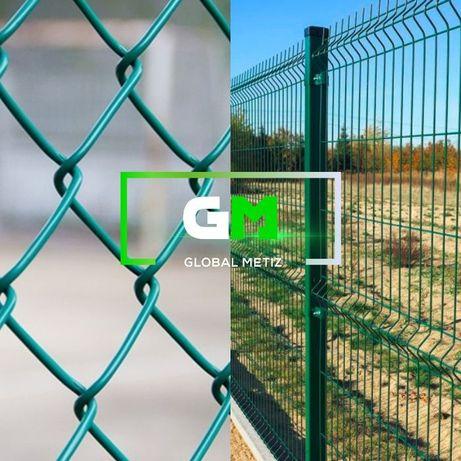 Секції паркану 3D, сітка рабиця, колючий, стовпчики, егоза, паркани