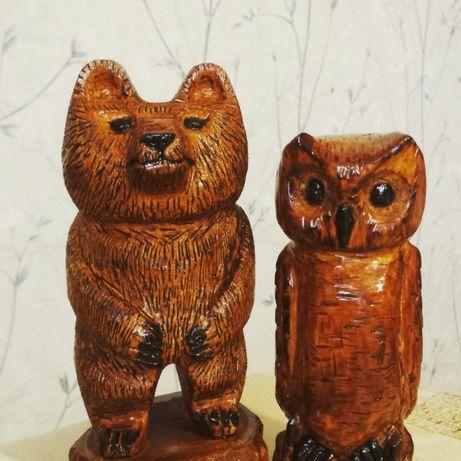 Ведмедик і сова(статуетки з дерева)