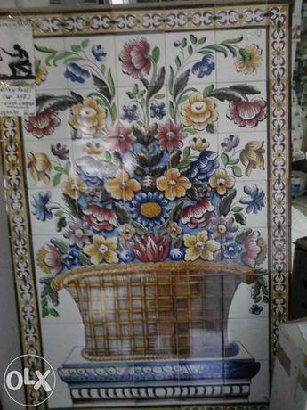 Quadro de azuleijos pintado a mão cesto com flores Viuva de lamego