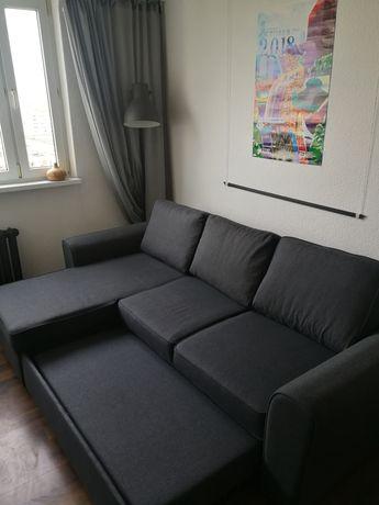 Sofa z funkcją spania, szezlongiem i pojemnikiem na pościel