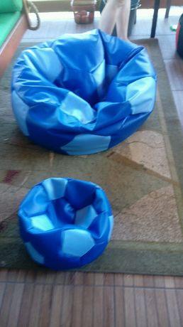 Pufa i pufka 2 szt komplet piłka na niebieskie worek XXL duże