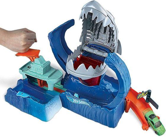 ОРИГИНАЛ! Трек Хот Вилс HotWheels Голодная Акула робот измени цвет