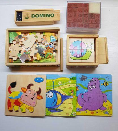 Zestaw puzzli i klocków drewnianych +gratis pieczątki