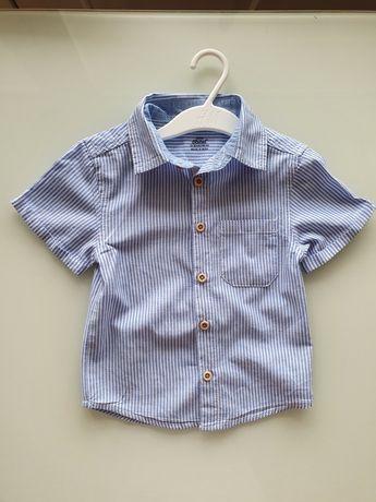 Ładna koszula chłopięca letnia w paseczki 92 cm!