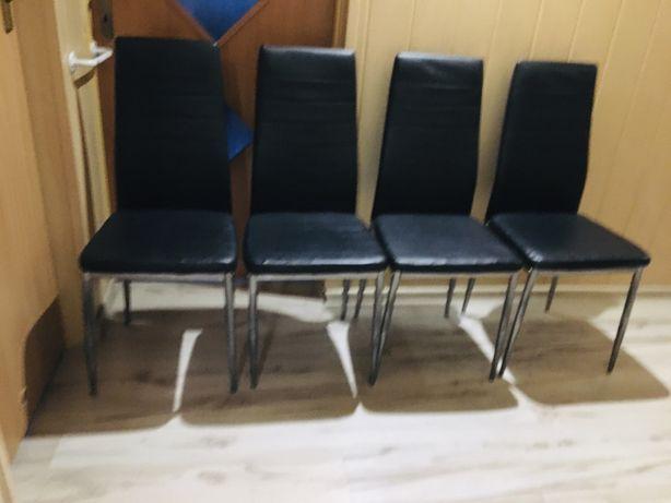 Komplet krzesła ekoskóra 4 sztuki czarne