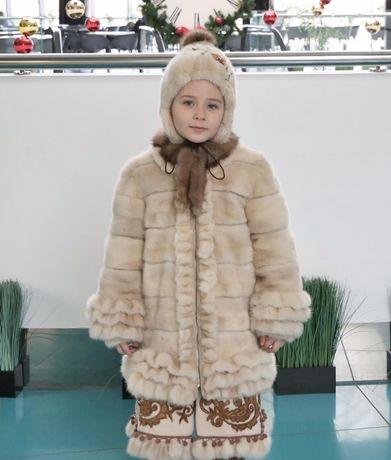 Норковая Шуба детская на 5-8 лет шапка норка