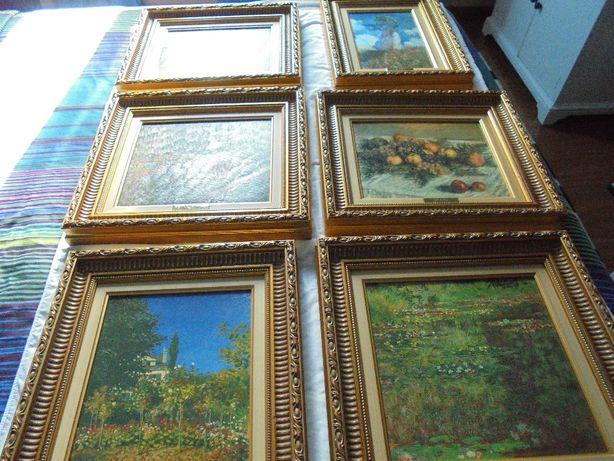 Seis quadros MONET ART GALLERY, com certificado reproduções