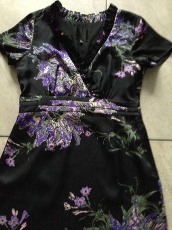 Sukienka czarna wrzos khaki kwiaty S ORSAY