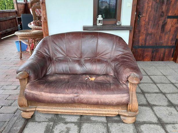 Wypoczynek kanapa skóra naturalna drewno