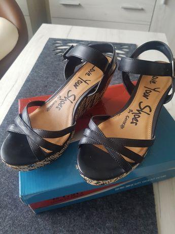 Buty na koturnie sandały 38