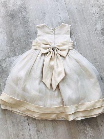 Suknia balowa 104 ecru z kokarda tiulem